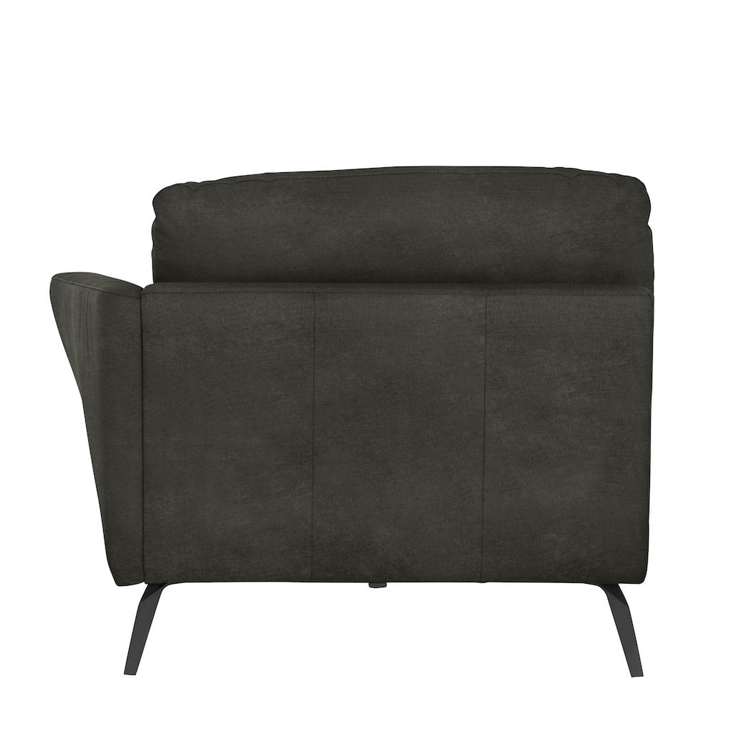 W.SCHILLIG Chaiselongue »softy«, mit dekorativer Heftung im Sitz, Füße schwarz pulverbeschichtet