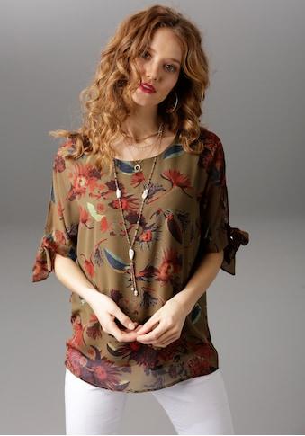 Aniston CASUAL Schlupfbluse, mit Schlitz und Bindeband am 3/4-Ärmel kaufen
