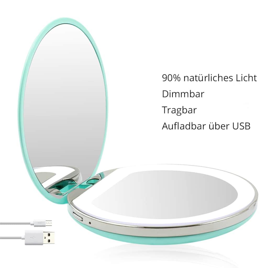 AILORIA Kosmetikspiegel »MAQUILLAGE«, (1 St.), Taschenspiegel mit LED-Beleuchtung (USB)