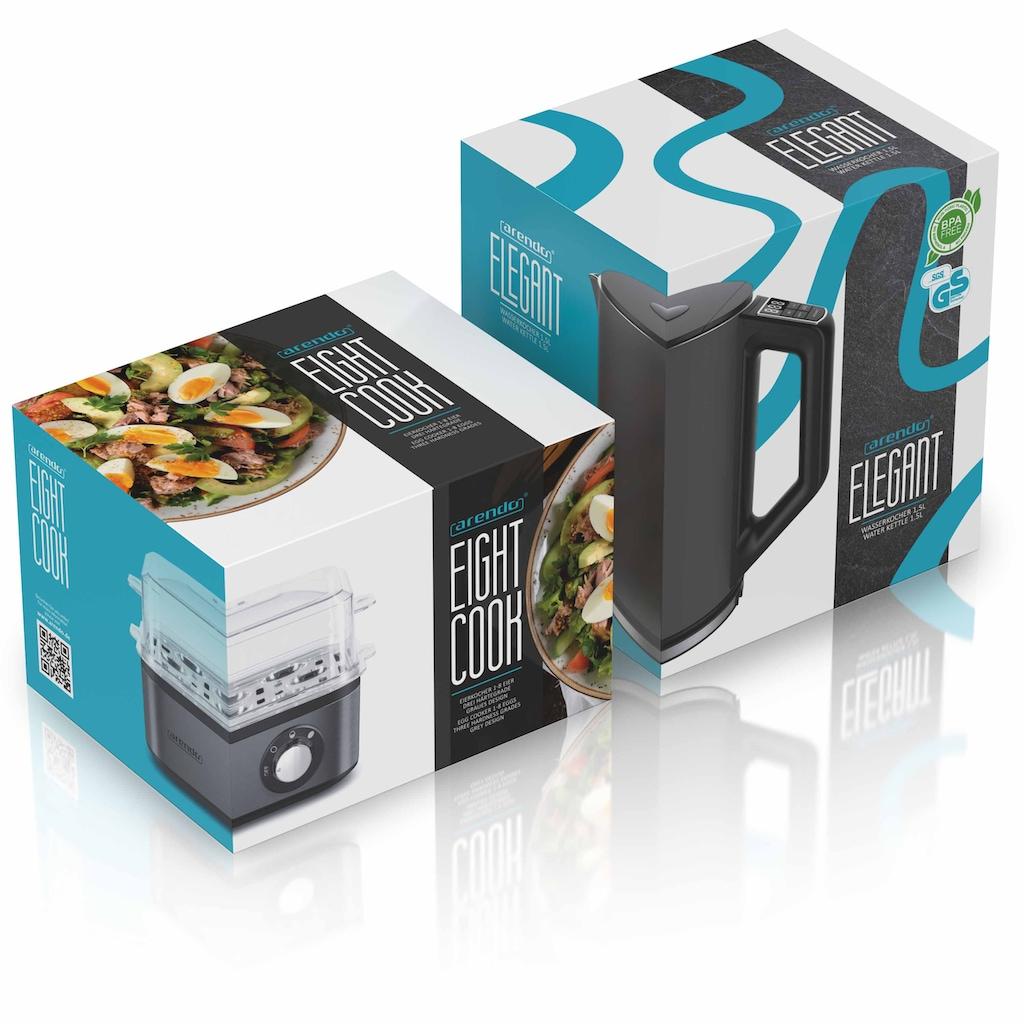 Arendo Frühstücks-Set »Wasserkocher / Eierkocher«, 2-teilig in grau