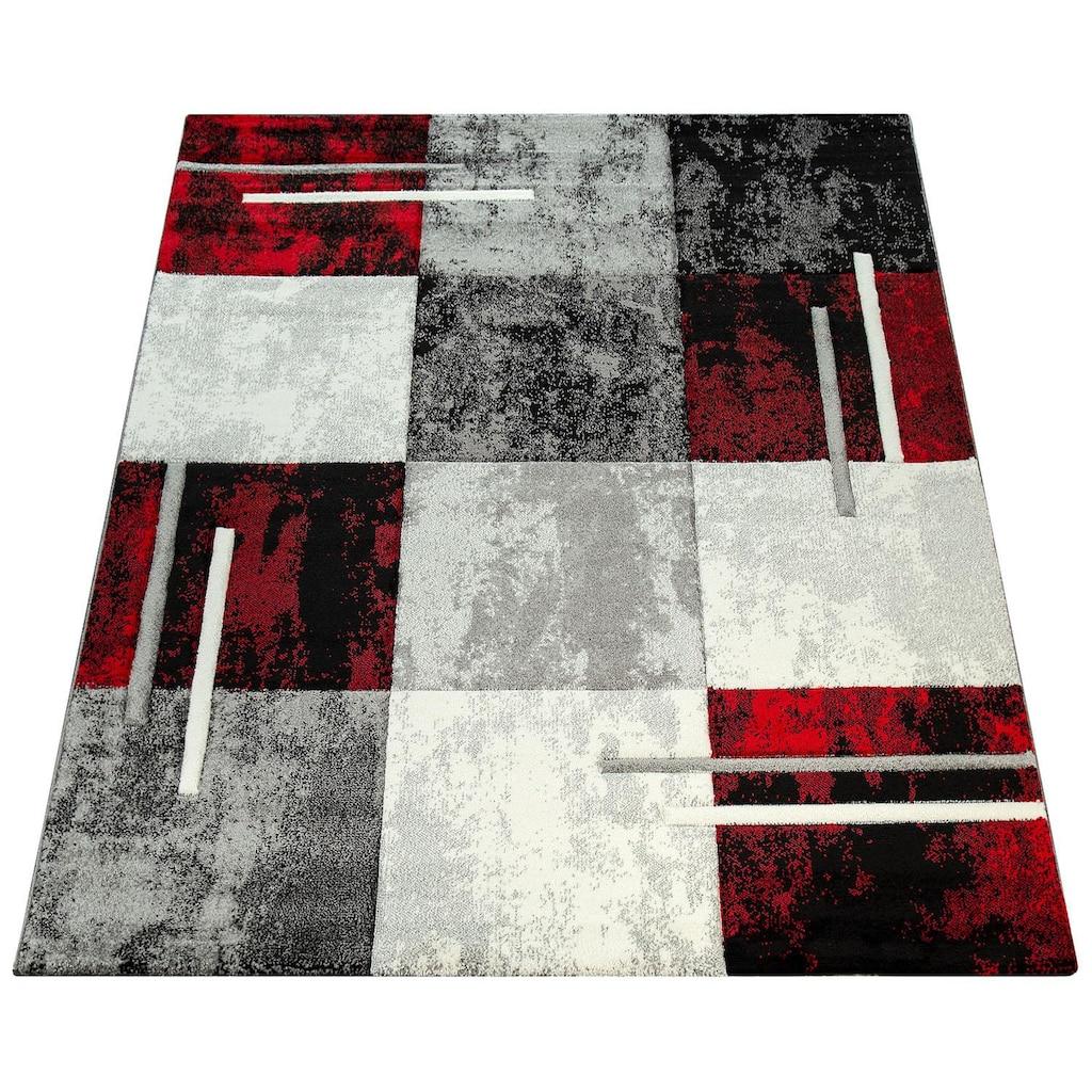 Paco Home Teppich »Diamond 663«, rechteckig, 18 mm Höhe, 3D-Design, Kurzflor mit Karo Muster, Wohnzimmer