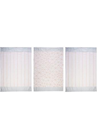 """stuco Geschirrtuch """"Grafik"""" (Set, 9 - tlg., 3 Stück mit grafischem Motiv, passend dazu 6 weitere Geschirrtücher in Streifenoptik) kaufen"""
