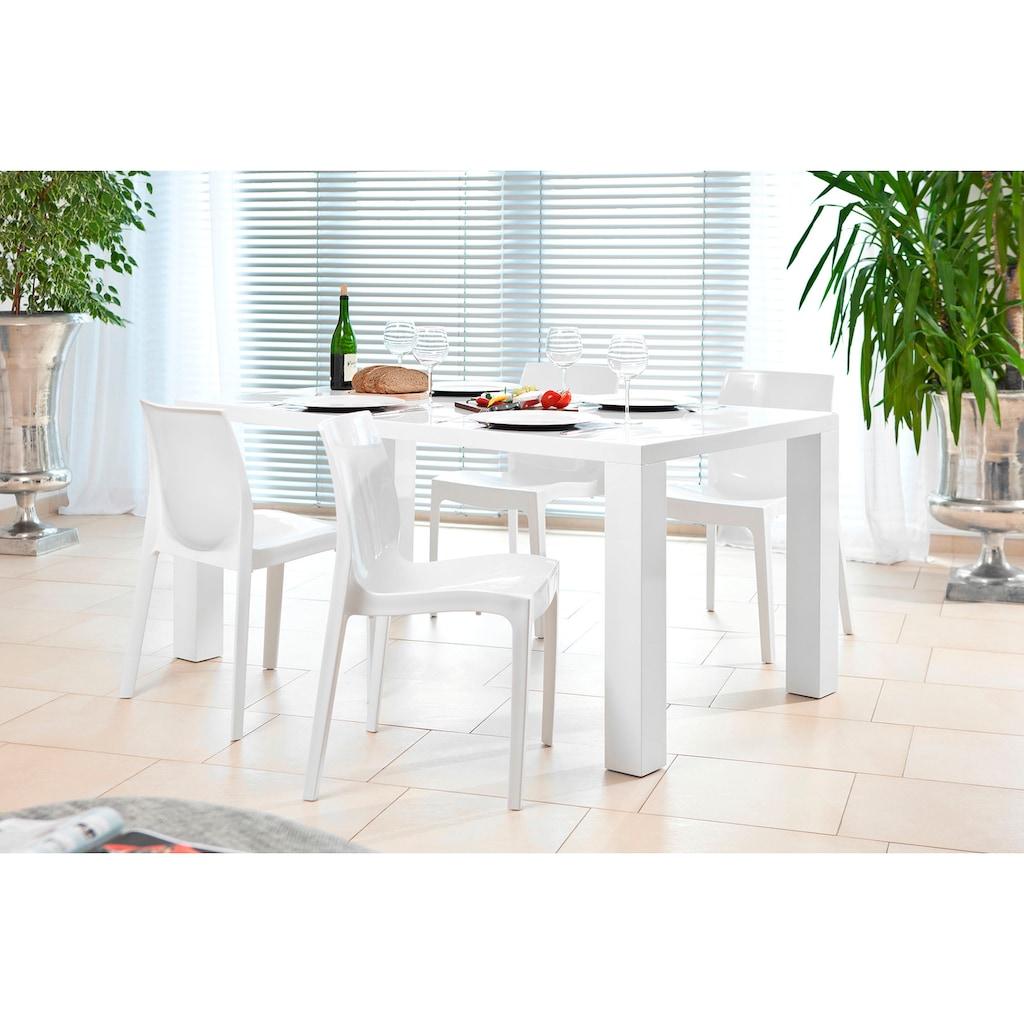 SalesFever Essgruppe, (Set, 5 tlg.), bestehend aus 4 modernen Kunststoffstühlen und einem 180 cm breitem Tisch