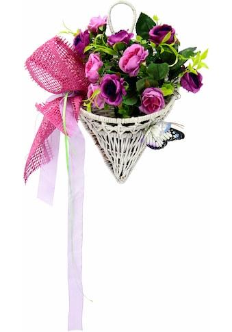 I.GE.A. Kunstpflanze »Rosen mit Schmetterling im Korb 30 cm« kaufen