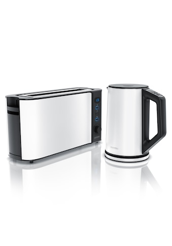 Arendo Frühstücks Set 2 - teilig in Weiß »Edelstahl Wasserkocher & Langschlitz Toaster« kaufen