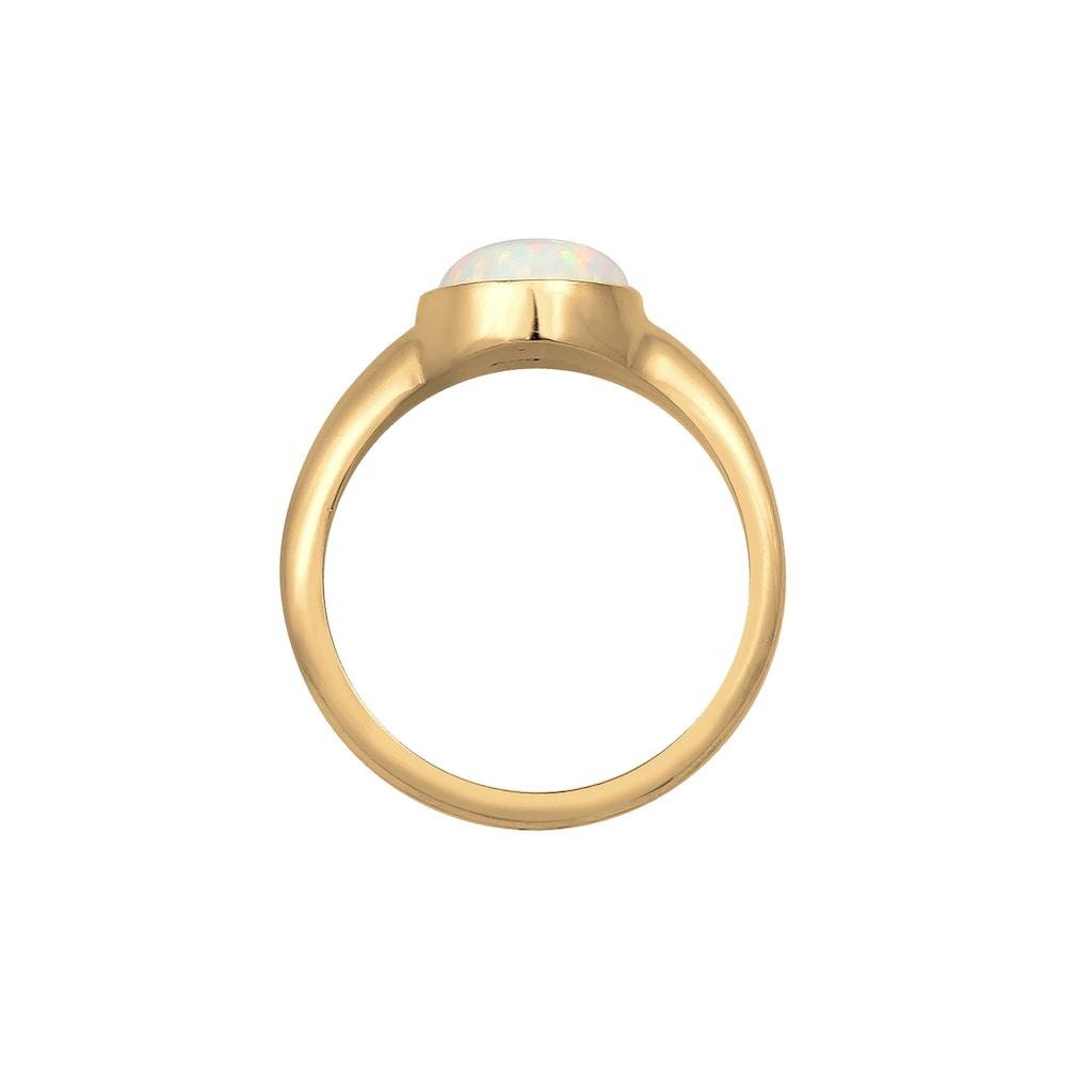 Elli Fingerring »Siegelring Mondstein Oval 925 Silber«