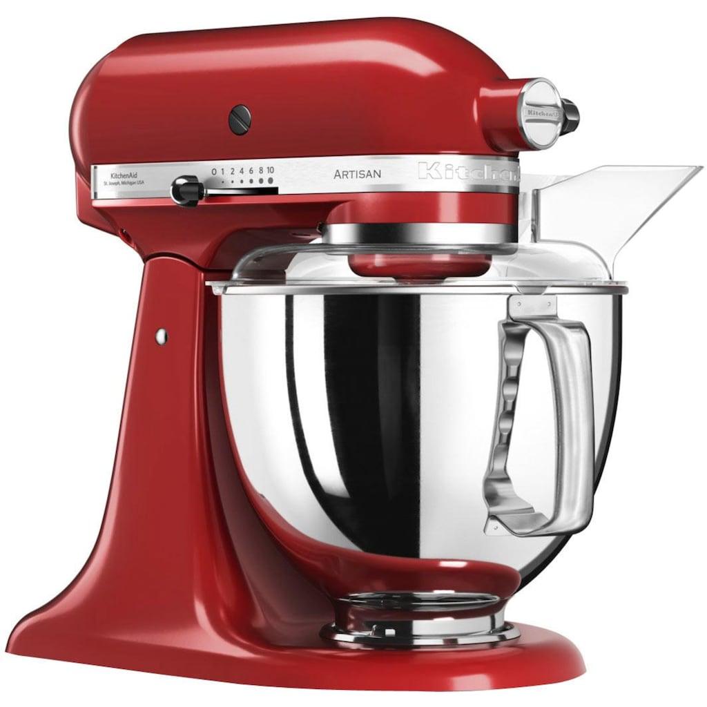 KitchenAid Küchenmaschine »Artisan 5KSM175PSEER mit Gratis Gemüseschneider und 3 Trommeln (Wert ca. 105,- UVP)«, 300 W, 4,8 l Schüssel, Farbe: Empire Rot