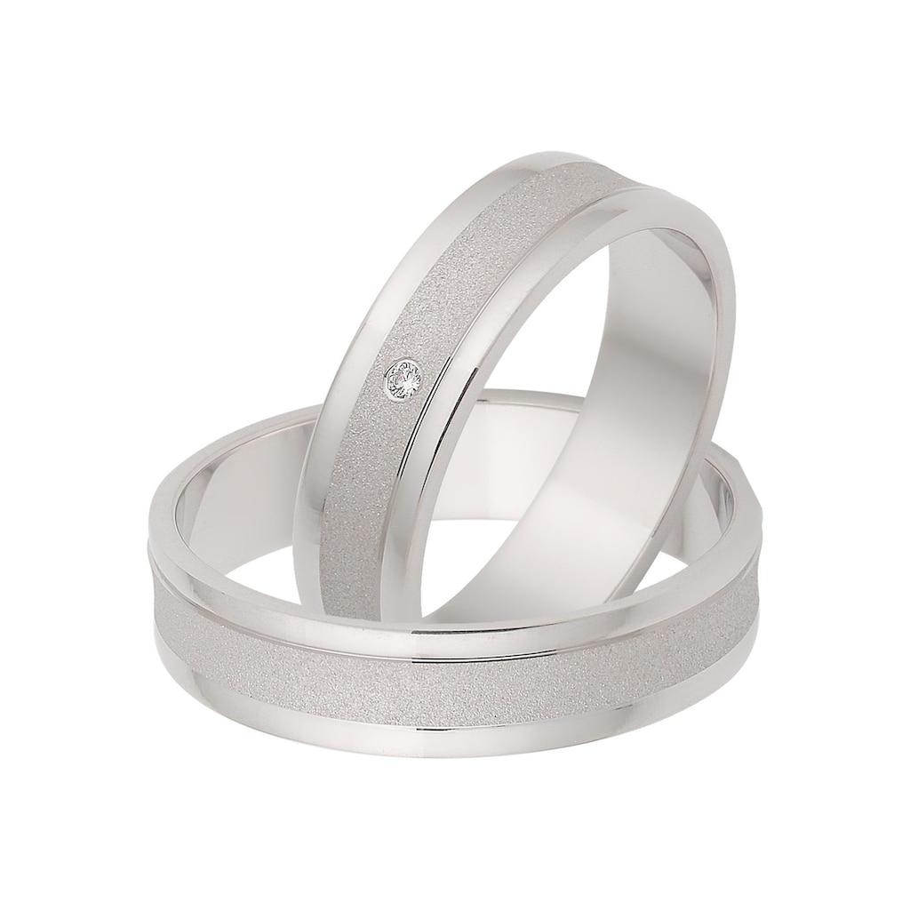 Firetti Trauring mit Gravur »glanz, sandmatt, Diamantschnitt, 5,0 mm breit«, Made in Germany, wahlweise mit oder ohne Zirkonia