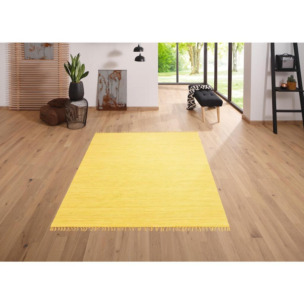 Lüttenhütt Teppich »Paul«, rechteckig, 5 mm Höhe, handgewebt, beidseitig verwendbar, mit Fransen