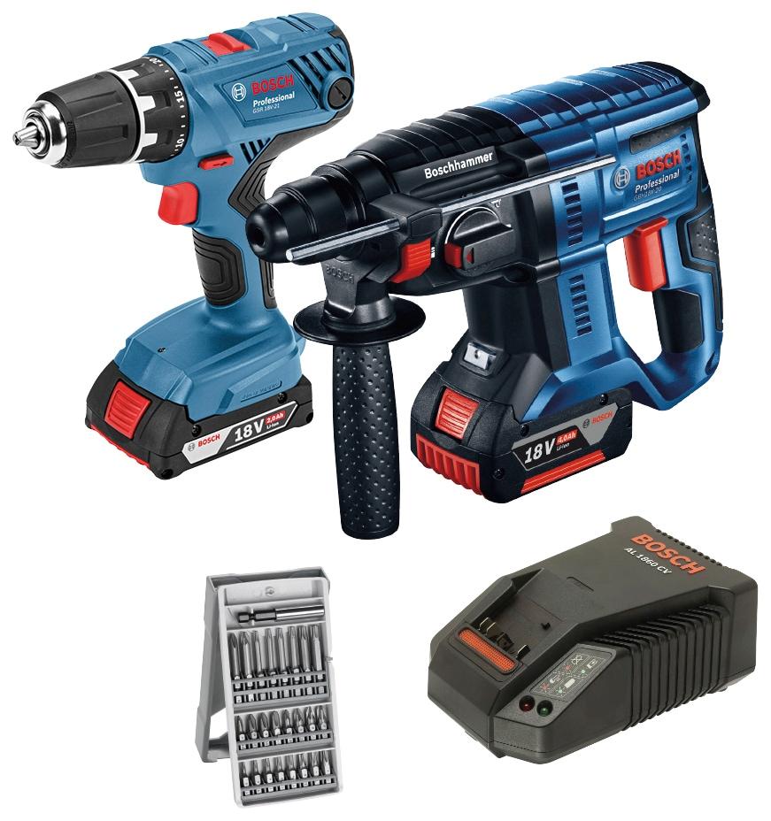 BOSCH PROFESSIONAL Elektrowerkzeug-Set »GSR 18V-21 + GBH 18V-20«, 18 V | Baumarkt > Werkzeug > Werkzeug-Sets | Blau | Beton | BOSCH PROFESSIONAL