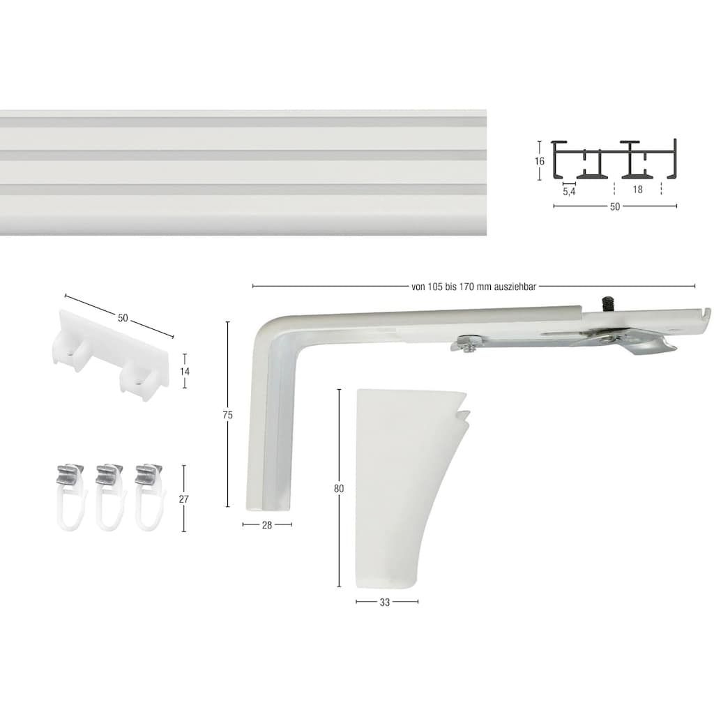 GARESA Flächenvorhangschiene »Compact Wandmontage«