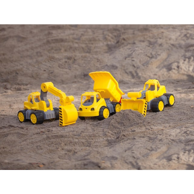 """BIG Spielzeug-Baumaschine """"BIG Power Worker Mini Transporter und Bagger gelb"""" (Set, 2-tlg.)"""
