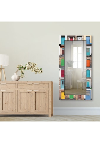 Artland Wandspiegel »Fotocollage von 32 bunten Haustüren«, gerahmter Ganzkörperspiegel... kaufen
