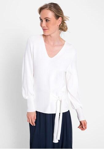 Olsen V-Ausschnitt-Pullover, mit raffiniertem Knotendetail kaufen