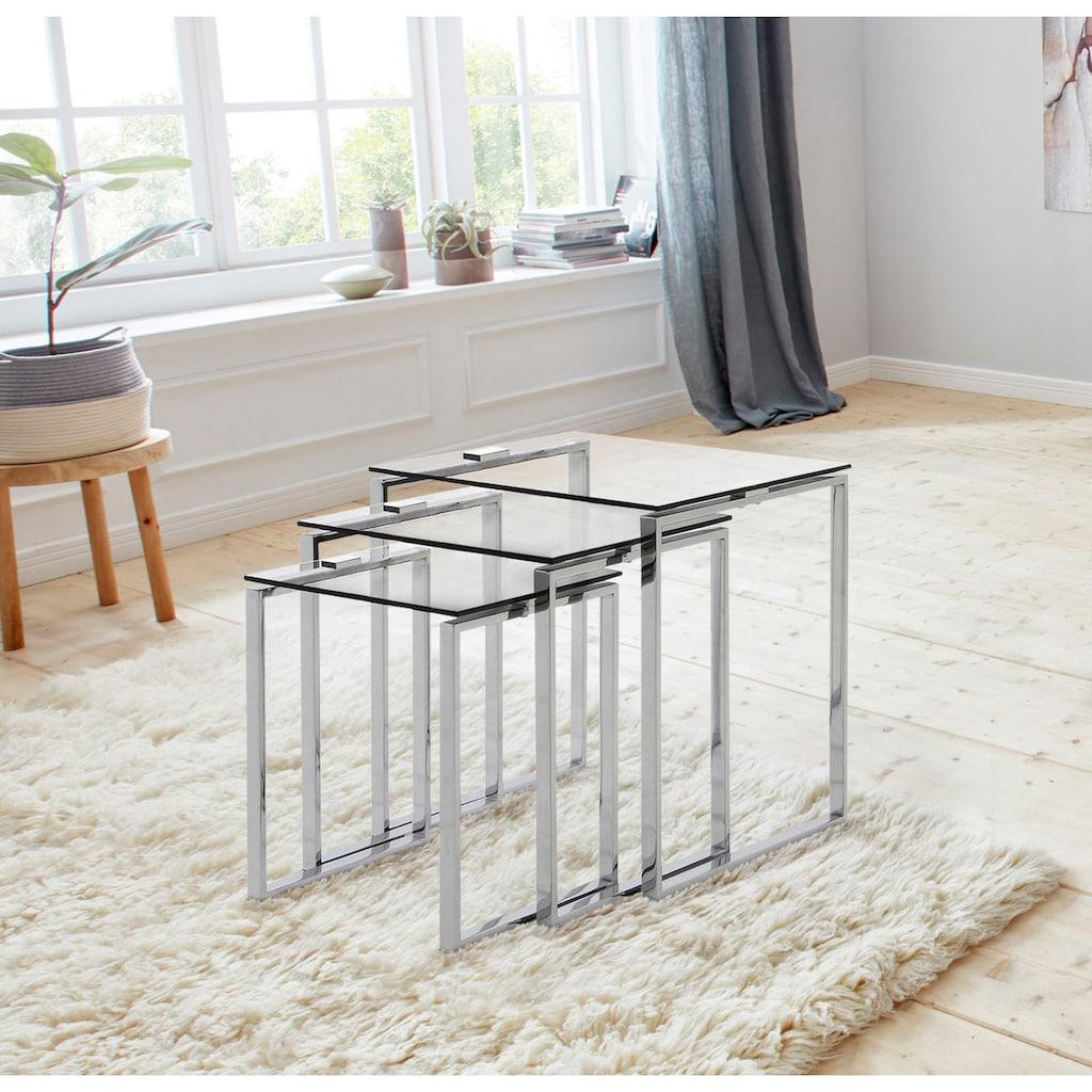 andas Beistelltisch »Karina«, (Set), mit einer Glastischplatte aus klarem Glas und Chromgestell