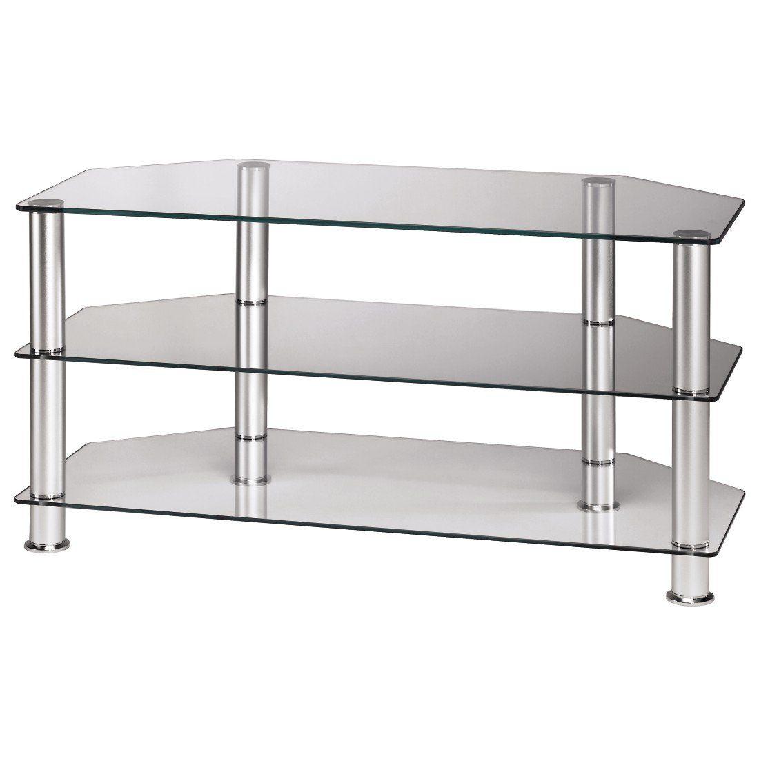 hama tv rack 1000 mm drei ablagen alu klarglas bequem. Black Bedroom Furniture Sets. Home Design Ideas