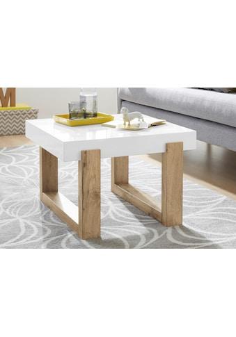 INOSIGN Couchtisch »Solid«, mit schönem Holzgestell und hochglanzfarbener, weißer Tischplatte, in zwei unterschiedlichen Größen kaufen
