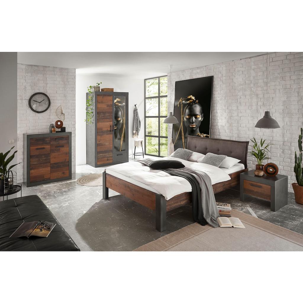 Home affaire Schlafzimmer-Set »BROOKLYN«, (Set, Einzelbett mit Polsterkopfteil, Nachtkommode, Kleiderschrank 2 trg., Kommode), in dekorativer Rahmenoptik