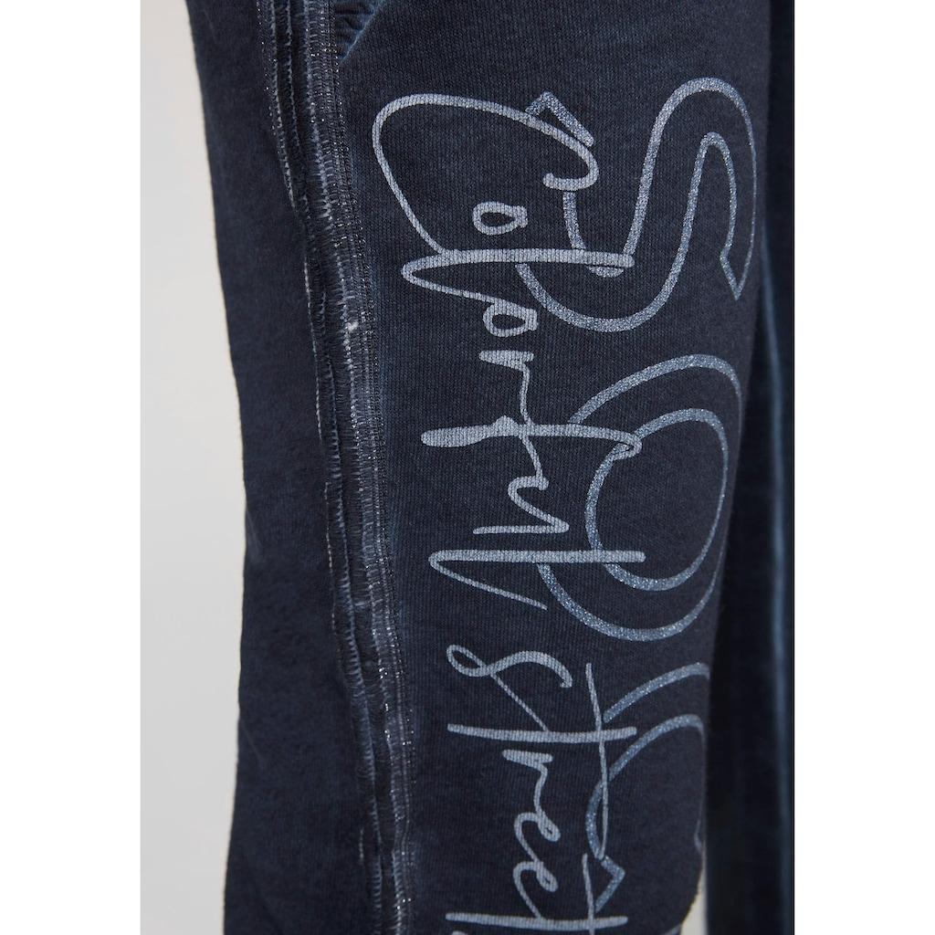SOCCX Jogger Pants, mit großem Bein-Motiv in Glitzeroptik und verstellbarem Bindeband