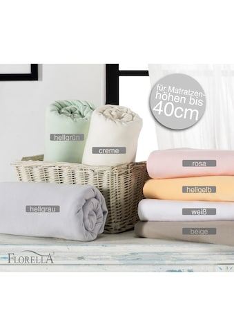 Florella Spannbettlaken »Zwirn Jersey Elasthan Spannleintuch mit Rundumgummi, Matratzenhöhe bis 40 cm, Florella« kaufen