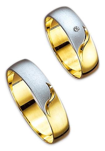 Firetti Trauring mit Gravur »5,0 mm, glanz, matt, Diamantschnitt, bicolor« kaufen