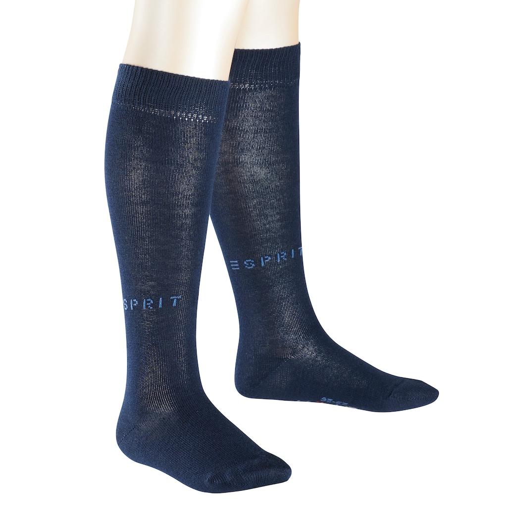 Esprit Kniestrümpfe »Foot Logo 2-Pack«, (2 Paar), aus hautfreundlicher Baumwolle