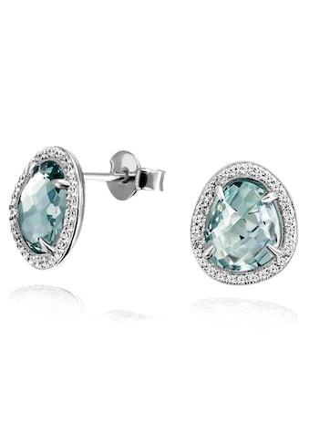 goldmaid Paar Ohrstecker 925 Silber Glasstein blau mit Zirkonia kaufen