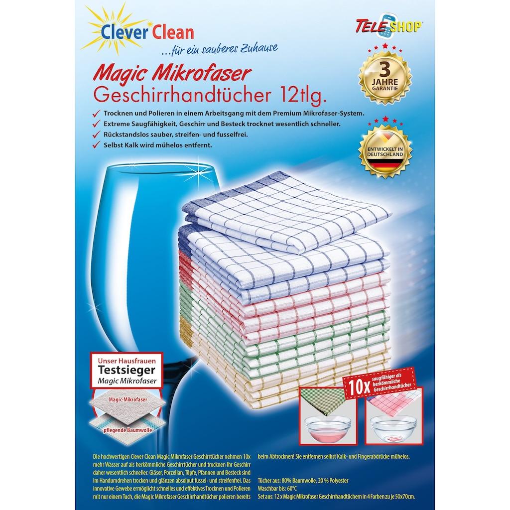 TELESHOP Geschirrtuch »CleverClean®Magic Mikrofaser«, (Set, 12 tlg.)