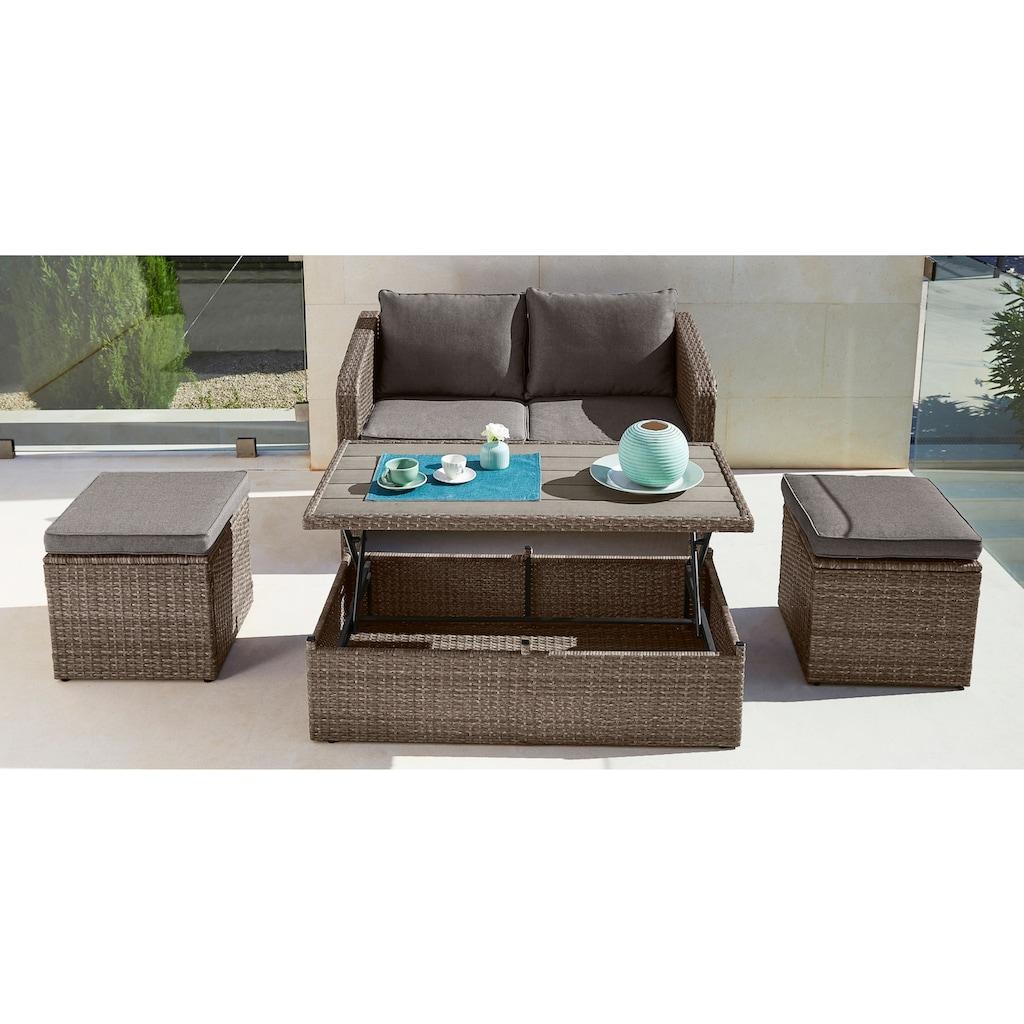 KONIFERA Gartenmöbelset »Lagos«, (10 tlg.), 2er-Sofa, 2 Hocker,Tisch 111x32,5-63 cm, Polyrattan