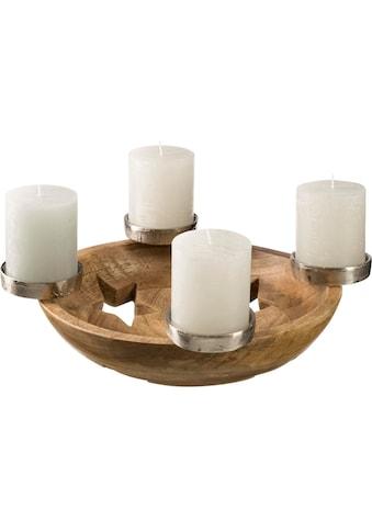 Adventsleuchter, Ø ca. 36 cm, Kerzenhalter 4-flammig, Deko-Schale kaufen