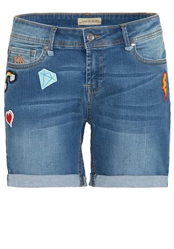 Way of Glory Jeansshorts, mit modischen Patches kaufen