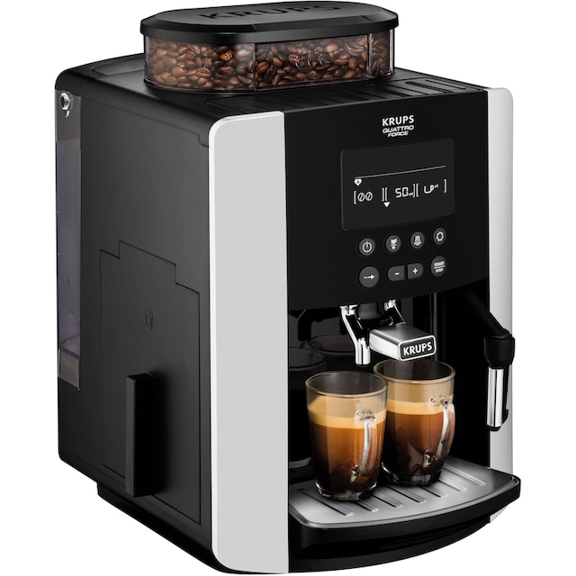 Krups Kaffeevollautomat EA8178 Arabica Display Quattro Force, 1,8l Tank, Kegelmahlwerk