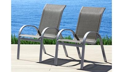 MERXX Gartenstuhl »Amalfi«, (2er Set), Alu/Textil, stapelbar kaufen