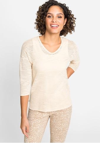 Olsen V-Ausschnitt-Pullover, in Netzoptik kaufen