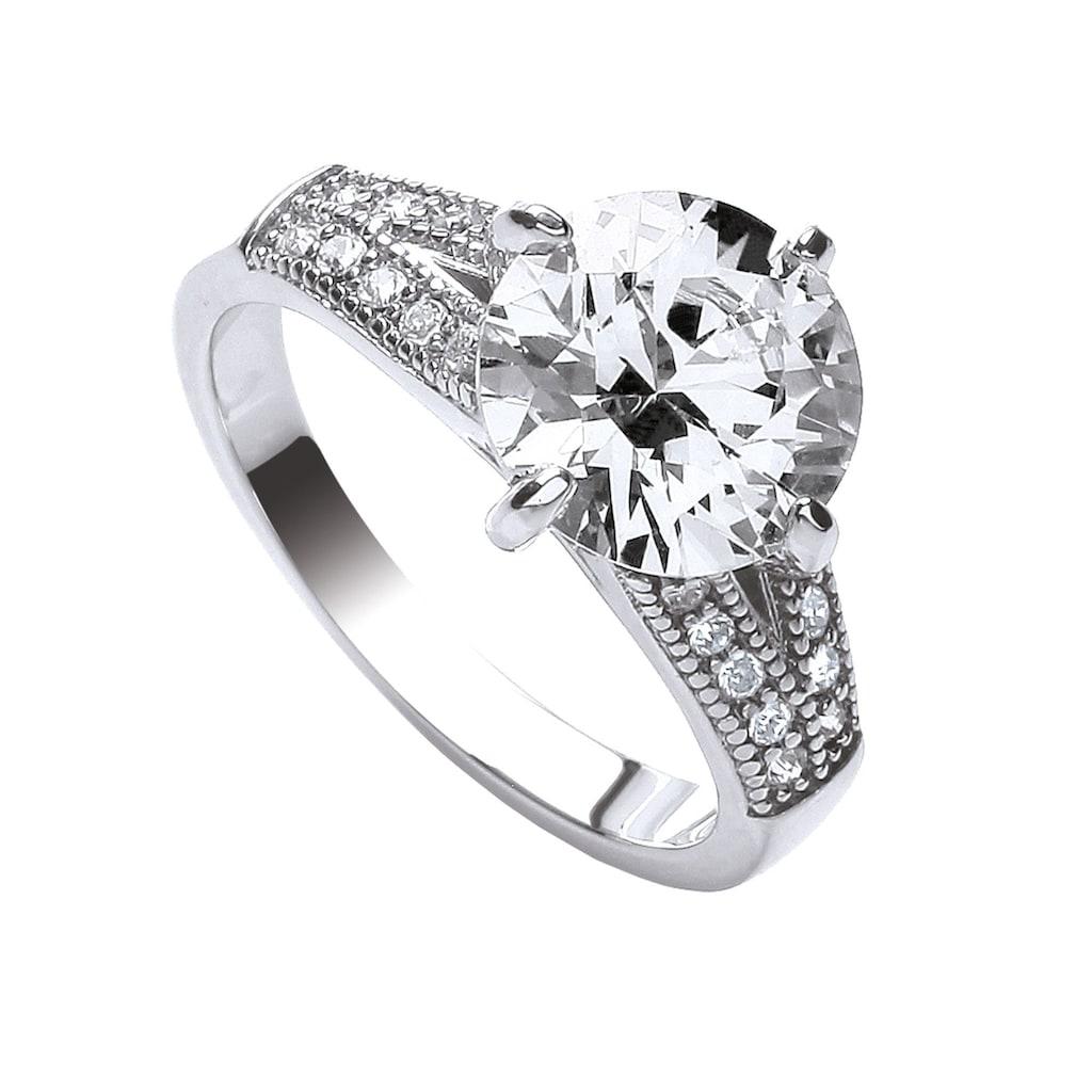 Buckley London Ring rhodiniert mit Zirkonia und Kristallen