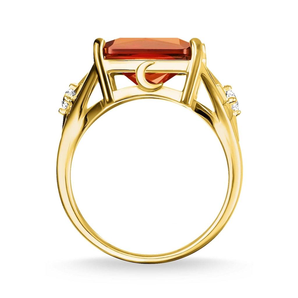 THOMAS SABO Fingerring »Stein orange groß mit Stern, TR2261-971-8-52, 54, 56, 58, 60«, mit Glasstein und Zirkonia