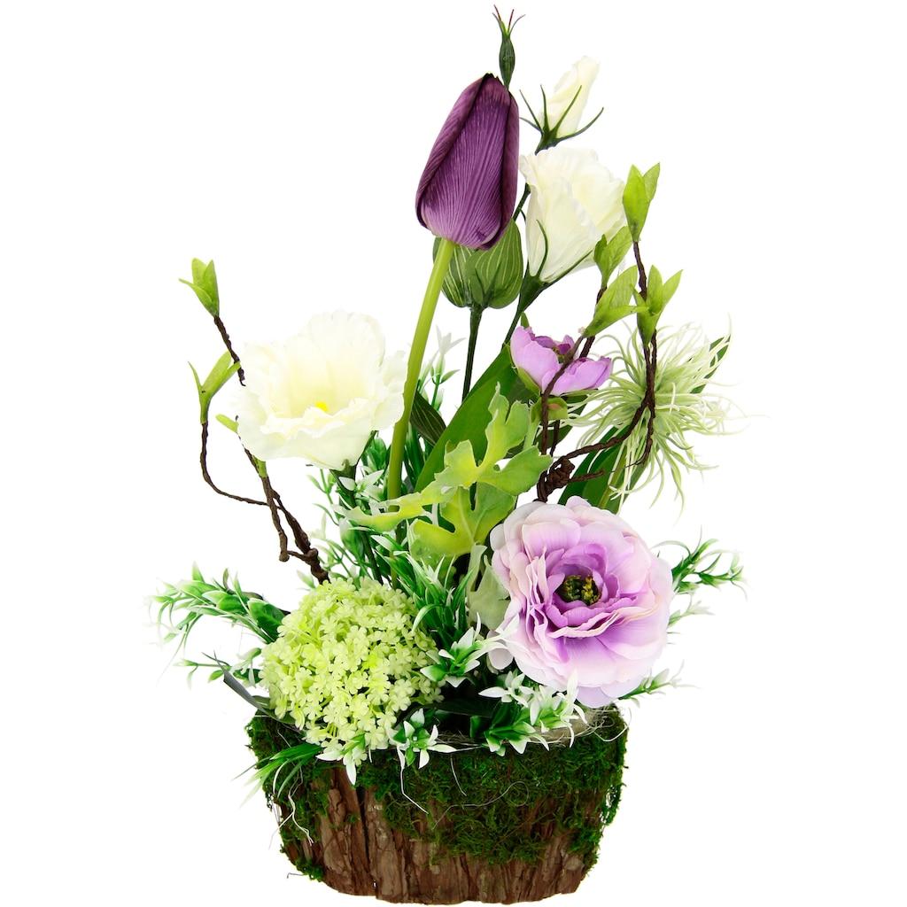 I.GE.A. Kunstblume »Arrangement Ranunkel/Lysianthus«, Pflanzschale aus Rinde mit Moos