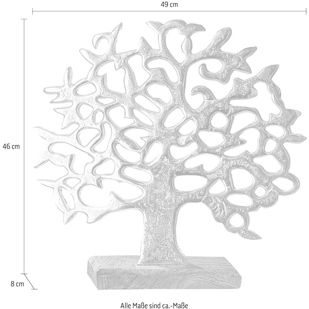 GILDE Dekoobjekt »Lebensbaum auf Holzbase«, Höhe 46 cm, aus Metall, Sockel aus Holz, Wohnzimmer