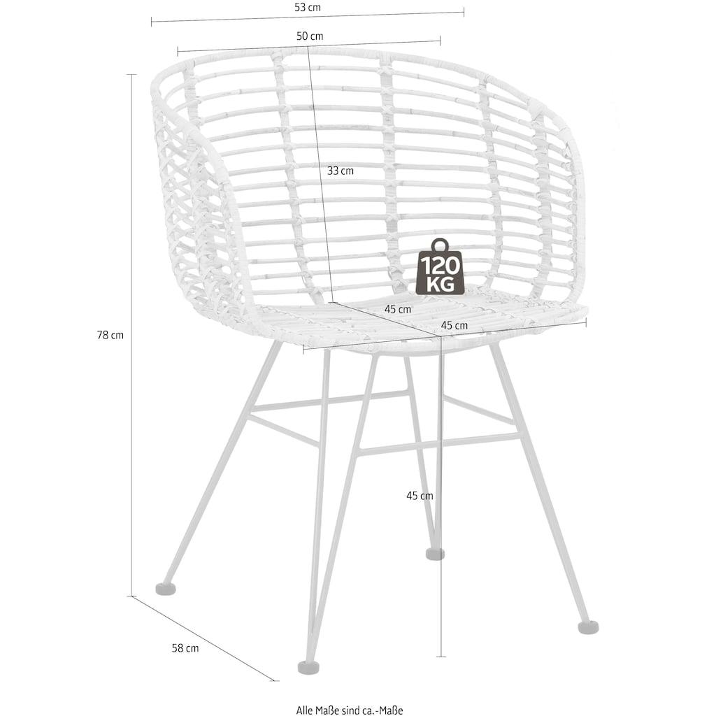 Home affaire Esszimmersessel »Jaik«, 2er Set, aus einem schönen Rattangeflecht, mit silberfarbenen Metallgestell