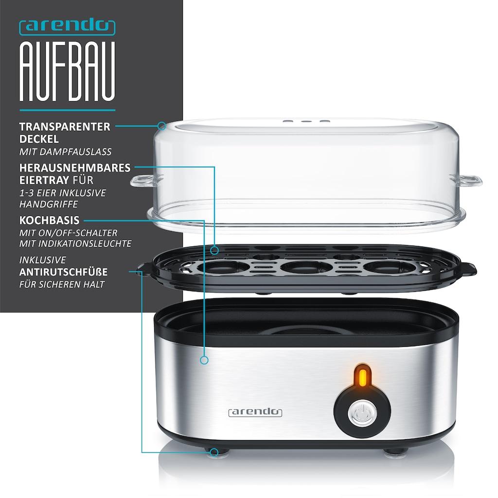 Arendo Frühstücks-Set »Wasserkocher / Toaster / Eierkocher«, 3-teilig in silber