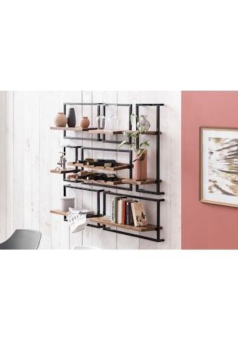 SIT Wandregal »Panama«, (Set, 7 St.), Regalset im Industrial Stil, Mangoholz und Metall kaufen