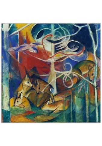 Artland Glasbild »Rehe im Walde I. 1913«, Wildtiere, (1 St.) kaufen