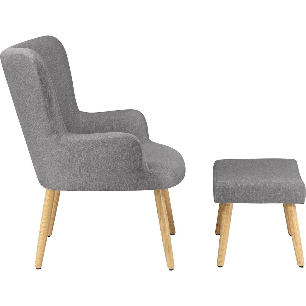 my home Sessel »Levent«, inklusive eines Hockers, in unterschiedlichen Bezugsqualitäten und Farbvarianten, Sitzhöhe 40 cm