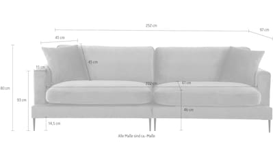 Leonique Big-Sofa »Cozy«, mit losen Kissen und Metallbeinen kaufen