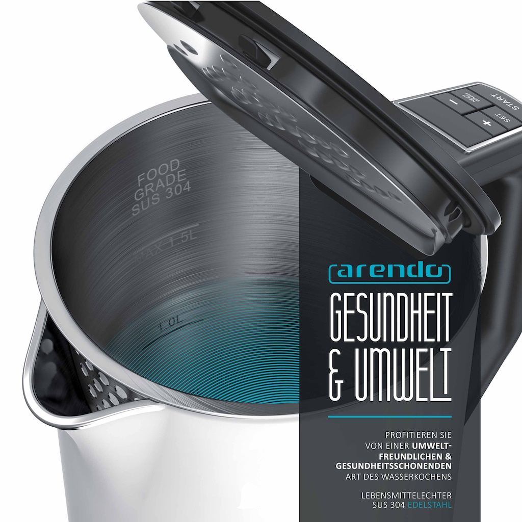 Arendo Frühstücks-Set »Wasserkocher / Toaster«, 2-teilig in weiß