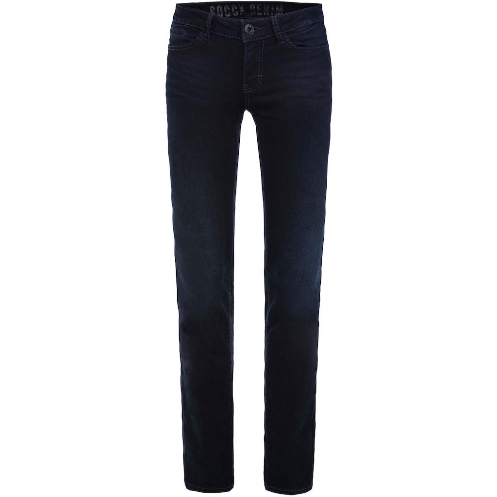 SOCCX Slim-fit-Jeans »RO:MY«, mit Wrinkle-Effekten am Bein
