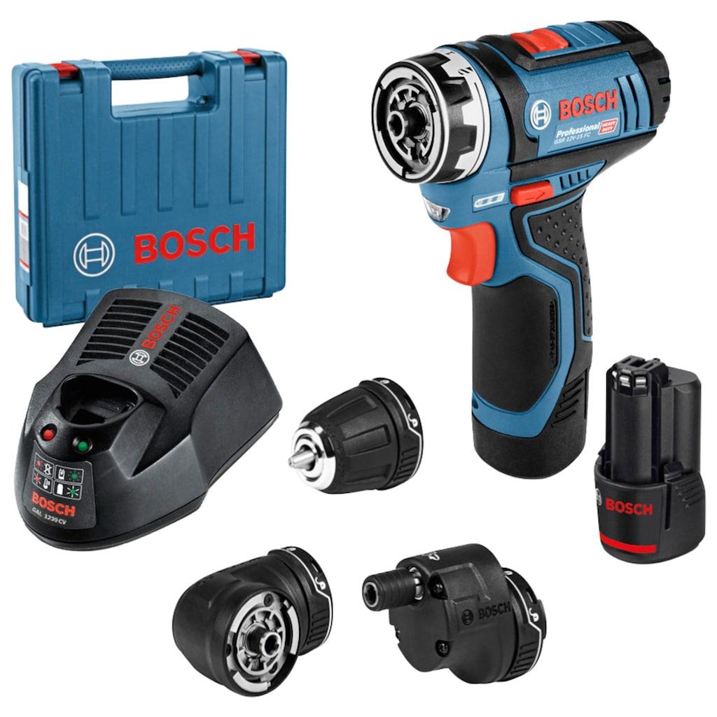 Bosch Professional Powertools Akku-Bohrschrauber »GSR 12V-15 FC«, (Set), in Koffer mit Akku, Zubehör-Set