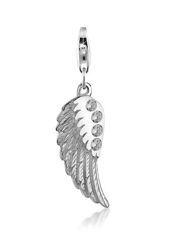 Nenalina Charm-Einhänger »Anhänger Flügel Zirkonia Glücksbringer 925 Silber« kaufen