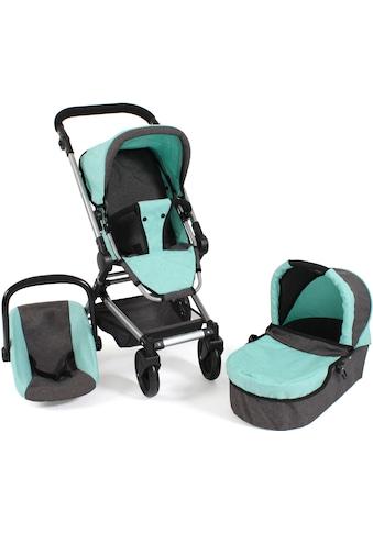 CHIC2000 Kombi-Puppenwagen »Fides 3in1, melange mint«, mit Babywanne, Sportsitz und... kaufen