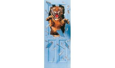 PAPERMOON Fototapete »Bursting Tiger  -  Türtapete«, BlueBack, 2 Bahnen, 90 x 200 cm kaufen